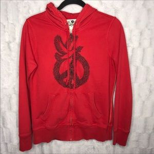 Lucky Brand Red Embroidered Peace Sign Hoodie